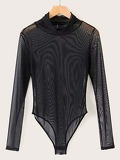 Mock Neck Mesh Sheer Bodysuit